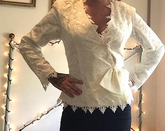 1980's Women's Dance Allure, Alfred Angelo, White Lace Blazer