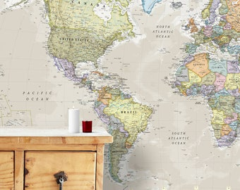 The online map store by mapsinternationaluk on etsy giant classic world map mural home decor push pin map world map gumiabroncs Choice Image
