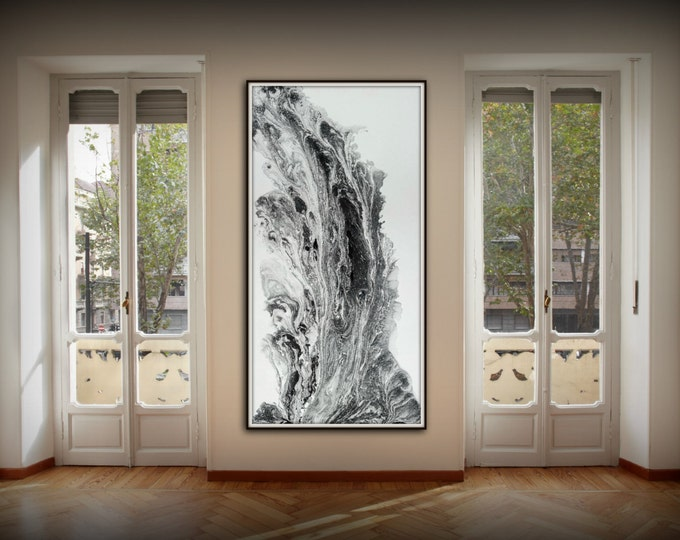 Large Abstract Painting Print Abstract Art Canvas Print, Black and White Art, Large Abstract Wall Art, Large Abstract Art Fine Art Print