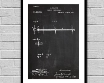 Barbed Wire Fence Patent, Barbed Wire Fence Poster, Barbed Wire Fence Blueprint, Barbed Wire Print, Barbed Wire Art, Barbed Wire Decor p038