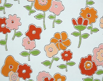 Retro Wallpaper by the Yard 70s Vintage Wallpaper - 1970s Pink Peach Orange and Red Flowers on White