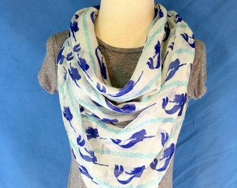 Womens Scarf Blue Mermaids -Free Shipping! Square Scarf. Spring Scarf. Women Fashion Accessories. Gift Ideas For Her. Holiday Gift.