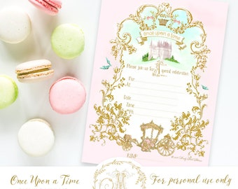 Once upon a time invitation set, princess carriage, digital, instant download, baby shower, wedding, event, party printable
