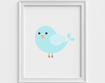 Blue Bird Art Print, Nursery Art Print, Nursery Wall Art, Nursery Wall Decor, Kids Wall Art, Kids Wall Decor, Nursery Art, Kids Art Print,