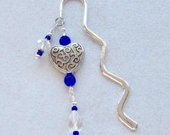 Beaded bookmark, Blue bookmark, crystal book mark, heart bookmark