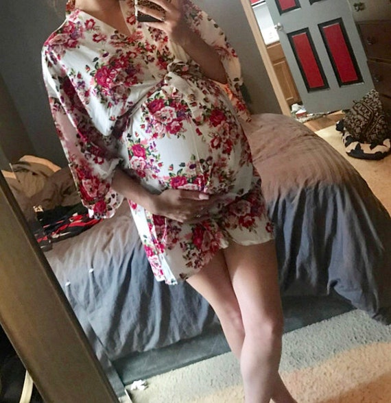 Monogram Maternity robe nursing robe delivery hospital gown