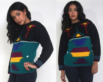 Vintage 80s Wool Intarsia Color Block Geometric Faces in Places Sweater