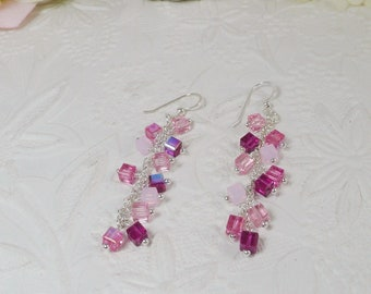 Swarovski Earrings with Cube Dangles Pink and Fuschia