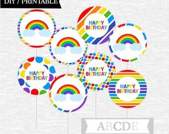 Instant Download Rainbow Birthday Cupcake Toppers Birthday decorations, Happy Birthday toppers DIY Printable (PDSSD030)