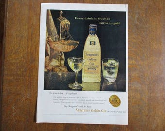 1958 Original Vintage Seagram's Golden Gin ad