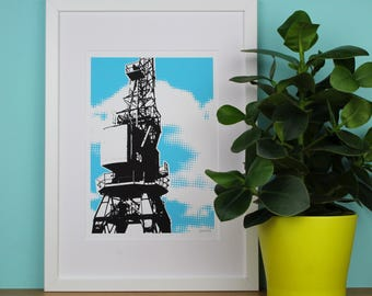 Cargo Crane, 4 COLOUR CHOICES, Bristol, UK, Architecture Print, Industrial, A4 Screenprint, Home Decor, Print, Silkscreen, Gift, Halftone