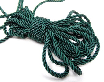 4mm Dark Green Twisted Cord, Wrapped Thread Cord, Polyester Braided Cord, Rope Cord - 3 Yards/ 2.75m approx.(1 piece)