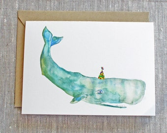 Whale Birthday Card. Cute Whale Greeting Card. Baby Shower Card. Kids Birthday Card. Animal Lovers Card. Whale Wearing A Party Hat Card.