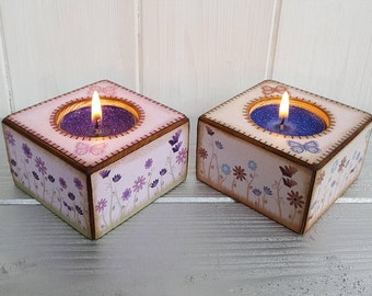 Wood block decoupage candle holder with glitter tealight, Handcrafted decorative flowers and butterflies tealight holder