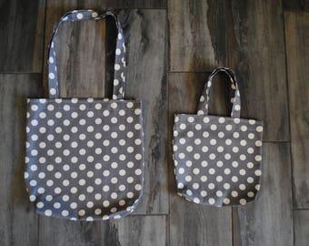 grey and white polkadot tote bag