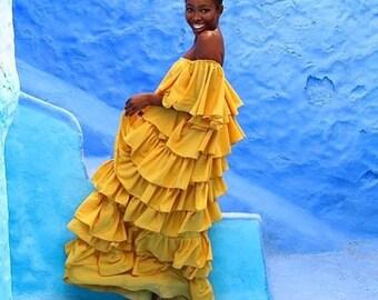 The Nana Layered Dress Mustard