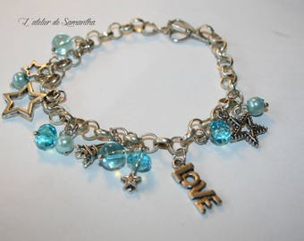 "Bracelet ""love Paris"" silver metal charms or charms and turquoise Crystal beads"