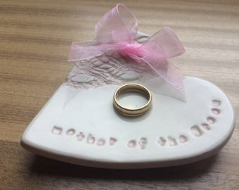 Pink mother of the bride groom ring plate keeper thank you ceramic heart gift