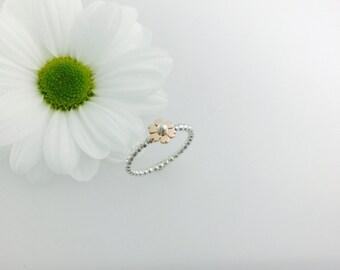 Rose gold flower stacker ring silver & 9ct gold, flower stacker