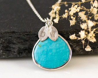 Turquoise Necklace Sterling Silver, Unique Boho Necklace, Personalized Gift for Friend, Birthstone Jewelry, Stamped Jewelry, BFF Gift Ideas