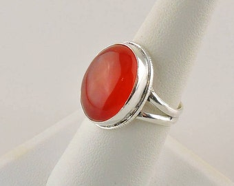 Size 7 Sterling Silver 11ct Oval Reddish Amber Color Carnelian Ring