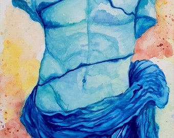 Narcissus watercolor canvas painting - Greek Mythology Art