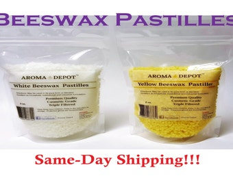 Pure 100%  Natural Beeswax Yellow Or White Pastilles Beads Pellets Candles Chap stick from 1 oz  up to 3 Lb Bags or Pouch