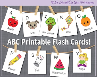 ABC Alphabet Printable Flash Cards - Instant Download - Easy to Read Graphics Make Learning the ABC's Super Fun for Your Child!