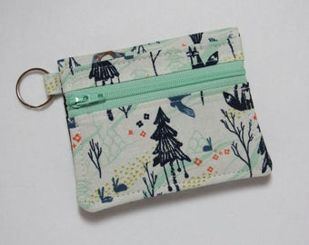 Bifold Keychain Wallet with Zipper Coin Pocket and Credit Card/Cash Pockets in Light Cotton + Steel Tokyo Train Ride Fabric - One of a Kind!
