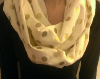 Handmade Cream with Gold Dots Flannel Infinity Scarf