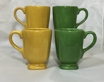 Espana (Lot of 4)Tabletops Unlimited Fiestaware Hand Painted Green and Yellow Coffee Cups Mugs (Footed)