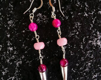 Pink Morganite and Hot Pink Striped Agate Earrings