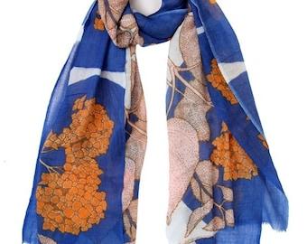 HYDRANGEA blue & orange scarf