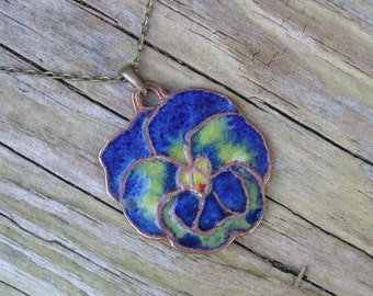 Pansy necklace, Flowery pendant, Glass enamel pendant, Colorful bronze jewelry, Wild flower charm, Navy flower necklace, Blue enamel charm