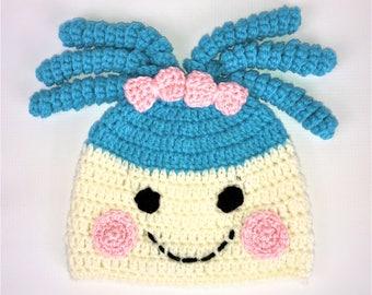 Lalaloopsy inspired hat, Crochet beanie Hat, All Sizes, Baby, Child, Kid, Adult, Women, Men, Girl, Boy, unisex, free shipping