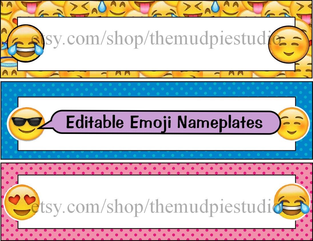 Emoji editables etiquetas plantilla de la placa de