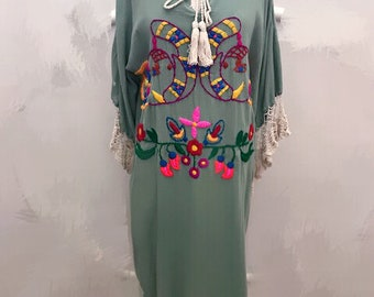 Mexican embroidered dress, boho chic dress, oxacan dress, plus size