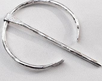 "Sterling Silver Penannular Fibula Handmade Viking Cloak Pin Brooch Smaller Size ""B"" 8 Gauge"