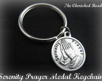 Silver Serenity Prayer Medal Keychain