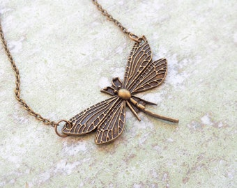 Long pendant Necklace Boho Necklace Antique bronze dragonfly necklace