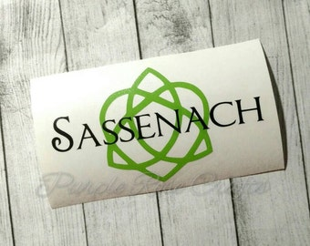 Sassenach Outlander Claire Jamie Celtic Love Knot Decal - sticker - cling - custom - tablet - window - car - computer - laptop - cup