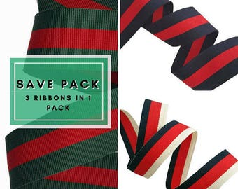 Sale pack of mixed striped grosgrain ribbons trims, mix of ribbons for fashion and crafts