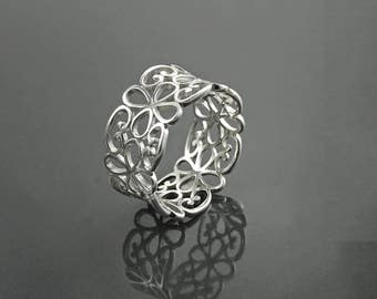 Filigree Band Ring, Sterling Silver, Open Band Ring, Lace Ring, Celtic Ring, Boho Jewelry, Wide Openwork Ring, Delicate ring, Dainty Ring