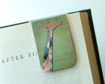 Giraffe Bookmark, Magnetic Bookmark, African Animals, Geometric Gift, Safari Gift, Giraffe Gift, Gifts Under 5, Africa Travel Gift, Mother