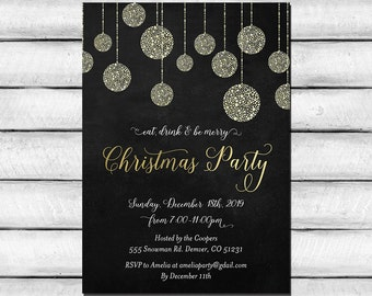 Printable Christmas Invitations, Black and Gold Holiday Party Invitation, Christmas Ornaments Invite, Eat Drink and be Merry