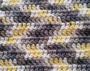 Yellow and Grey Crochet Scarf