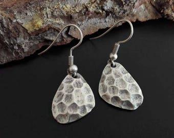 Boho chic style earrings   Silver plated dangle earrings   Silver hammered tribal ethnic earrings   Bohemian earrings    Ethnic jewelry