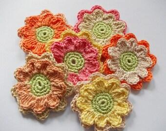 6 2d-crocheted flowers-7 cm tall