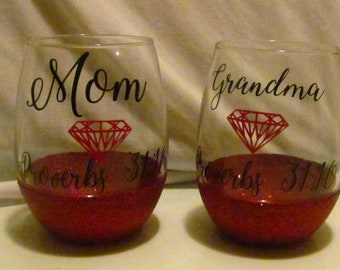 Mom and Grandma Christian Sparkly Wine Glass Proverbs 31 Woman Ruby Mothers day Grandparents day religious bible verse gift