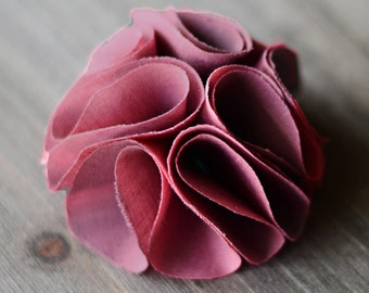 dusty rose pink / wholesale shabby chic fabric flowers / wedding flowers / embellishments appliques diy supplies / headband flowers